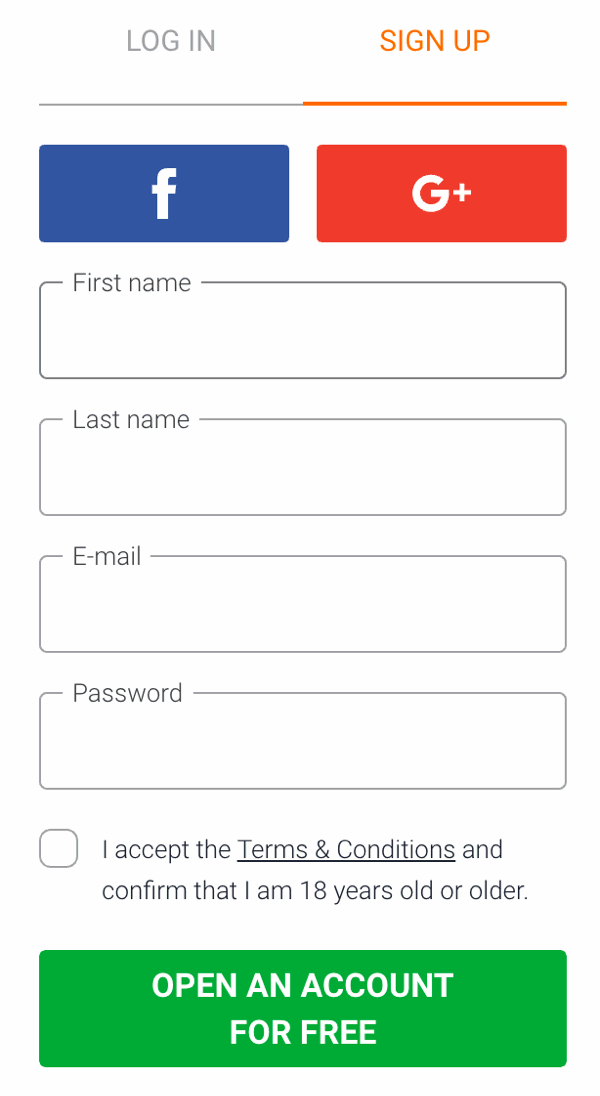 iqoption login - sign up redirection image