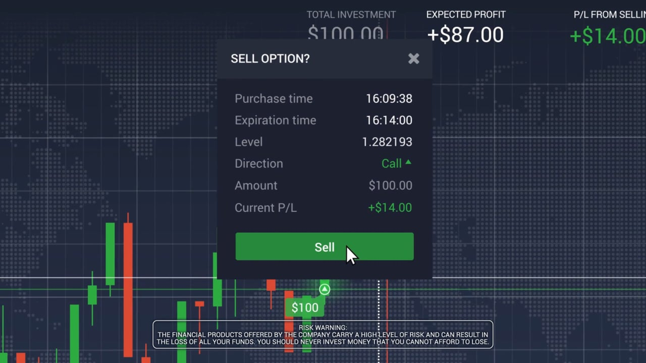 Sell binary options before expiration